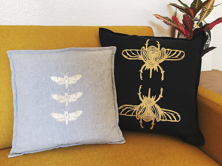 Luxury Gold Glitter Beetle Cushion Cover | choice of fabric colour