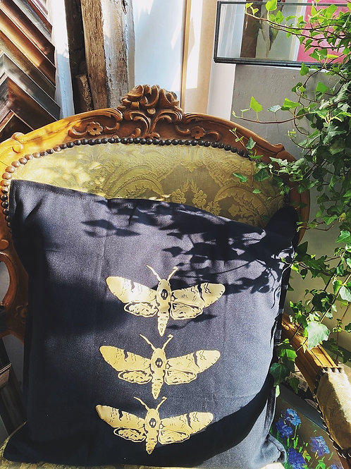 Gold Moth Cushion WITHOUT Pad | choice of fabric colour
