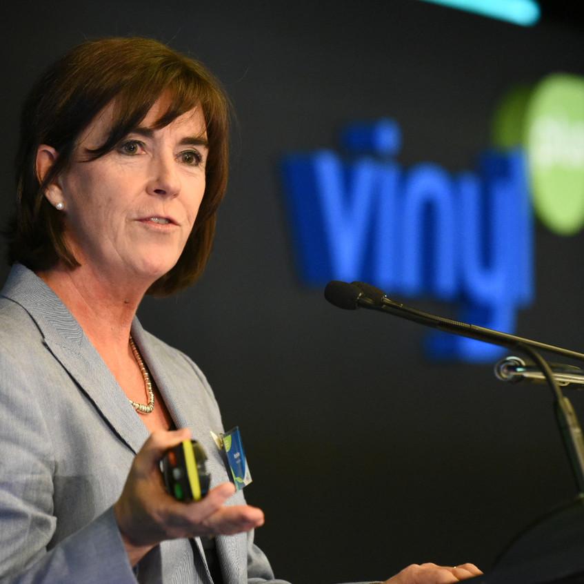 Dr. Brigitte Dero, VinylPlus® General Manager, presenting VinylPlus achievements in 2017 and the way towards 2030