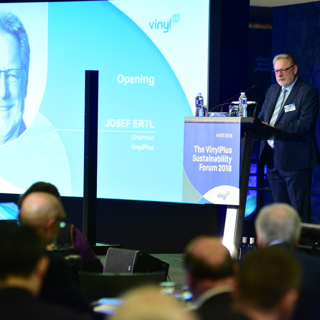 Dr. Josef Ertl, VinylPlus® Chairman, opening the VinylPlus Sustainability Forum 2018 on 17 May 2018