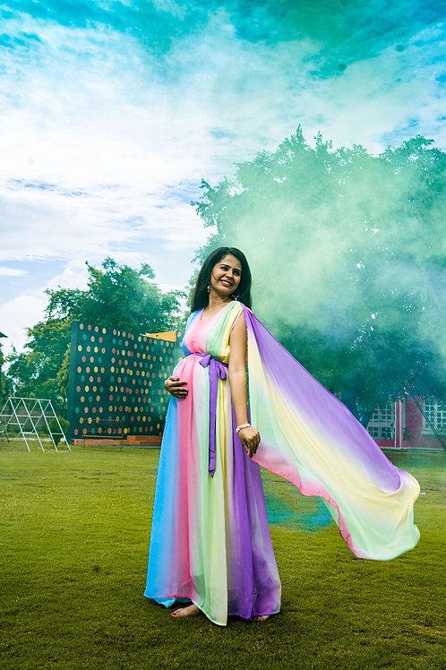 Luxe Rainbow Maternity Trail Dress