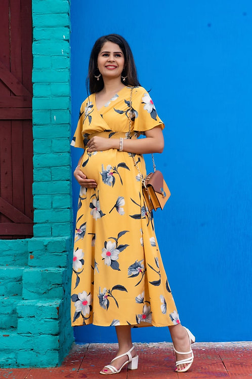Mustard day outing pregnancy dress