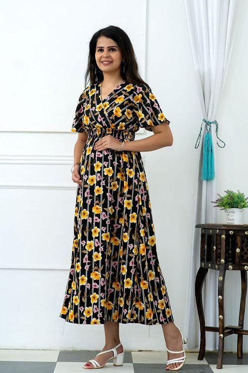 Black blossom pregnancy dress