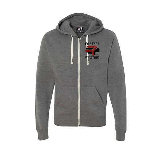 Triblend Hooded Full Zip Hooded Sweat Shirt (Glitter)