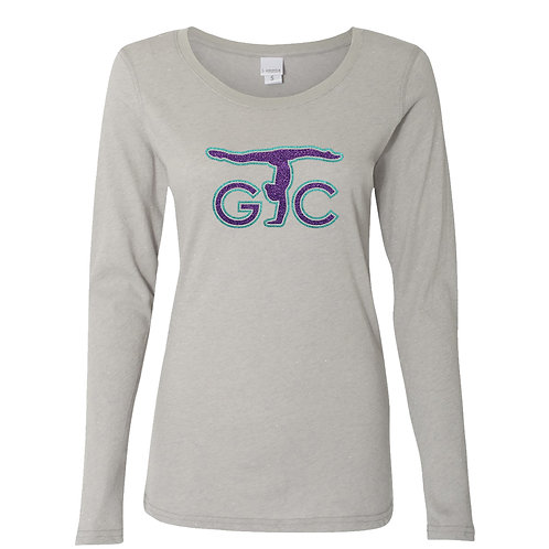 Adult Long Sleeve Glitter Woven Tee (Grey)
