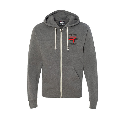 Triblend Hooded Full Zip Hooded Sweat Shirt
