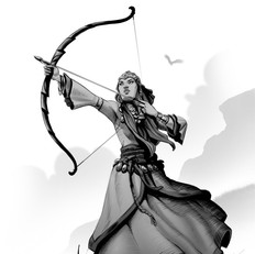 bow woman sketch