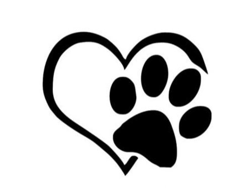 Heart with Paw Decal