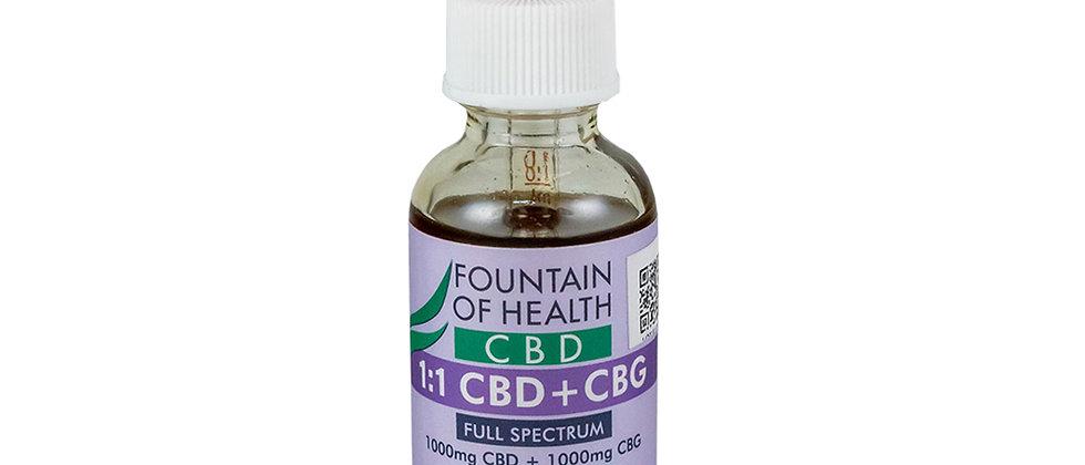 Fountain of Health 1000mg 1:1 CBD/CBG Tincture