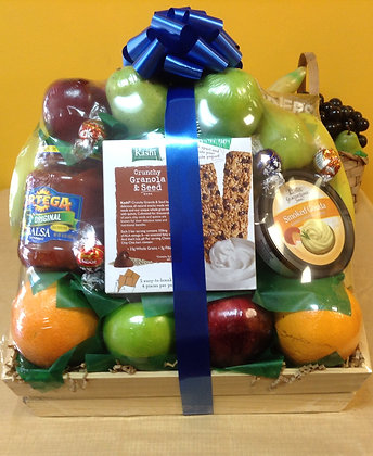 Wooden Tray of Fruit and Goodies