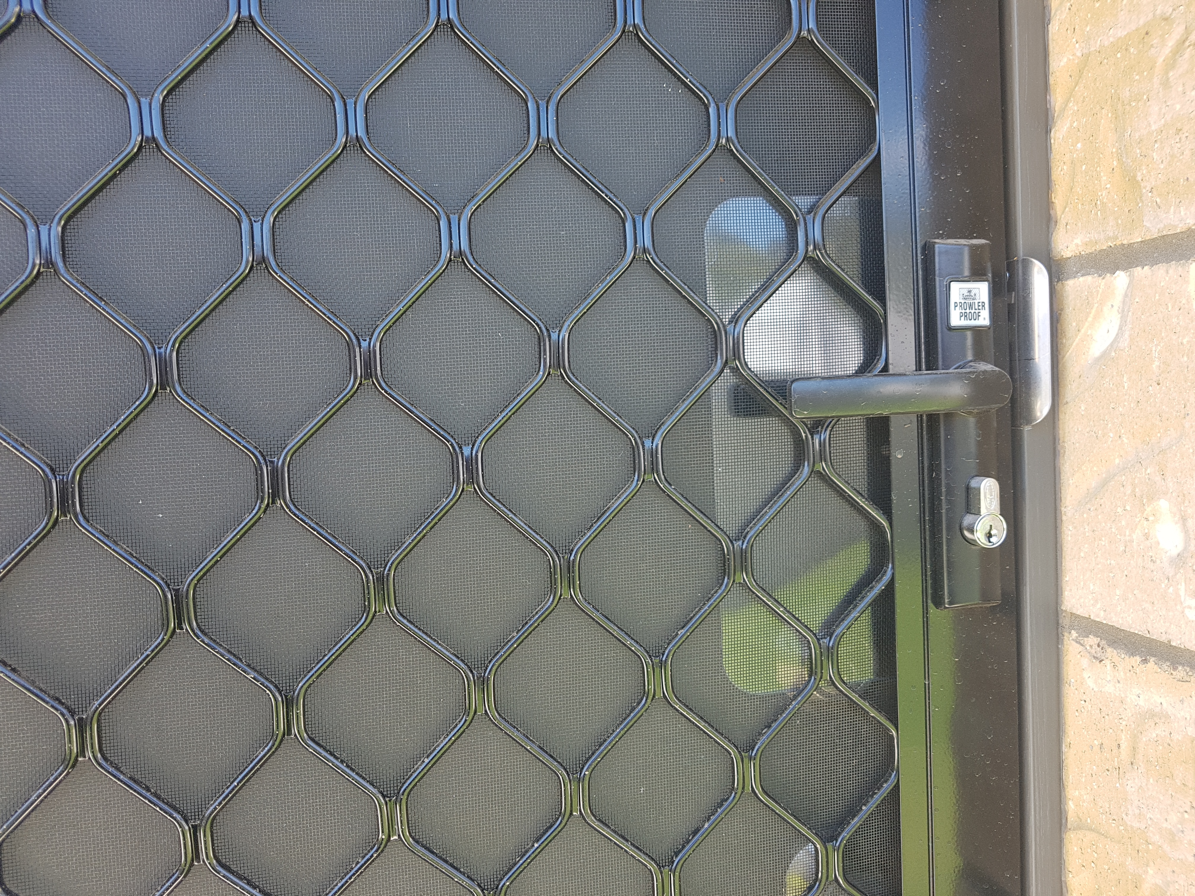 All diamond grille security doors come standard with a keyguard