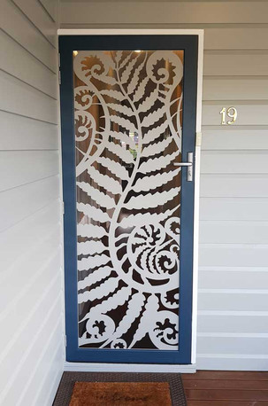 Decoview lasercut aluminium security door silver fern