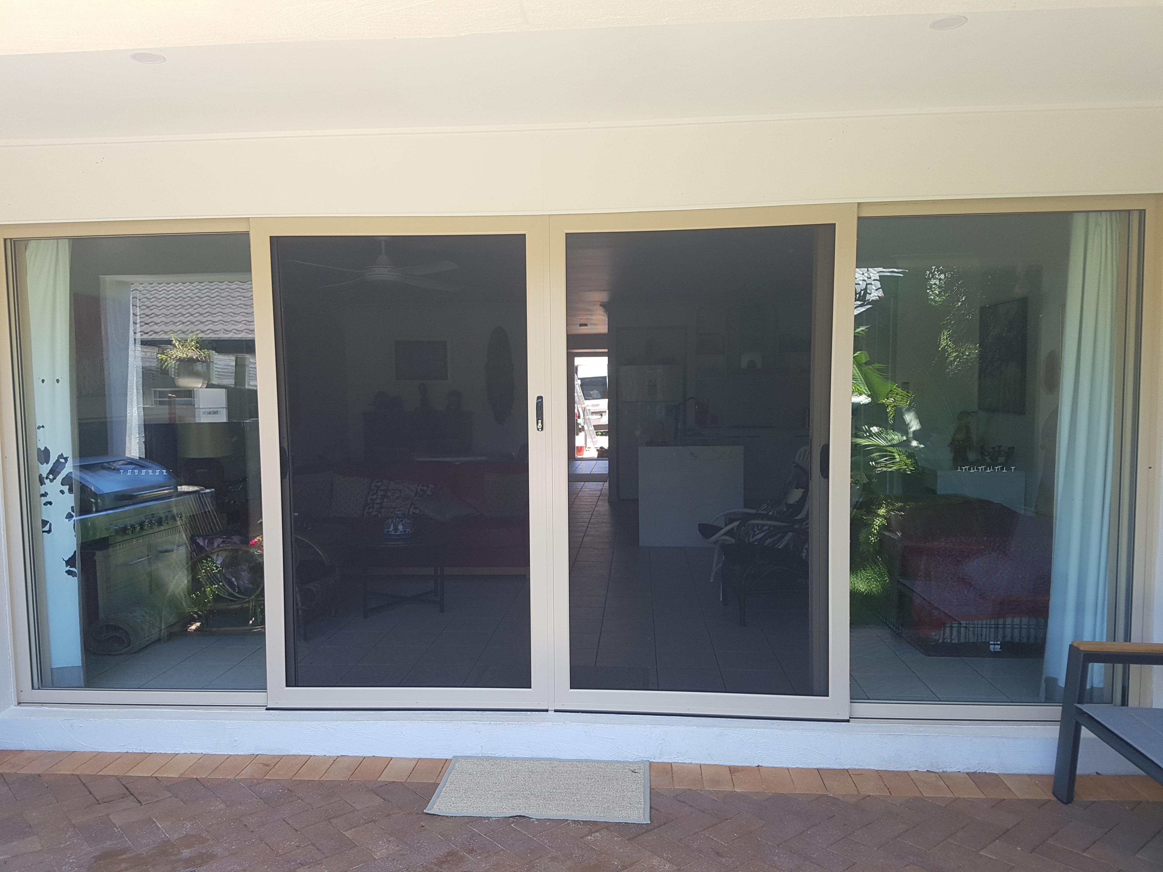 Bulimba sliding security doors, stone beige