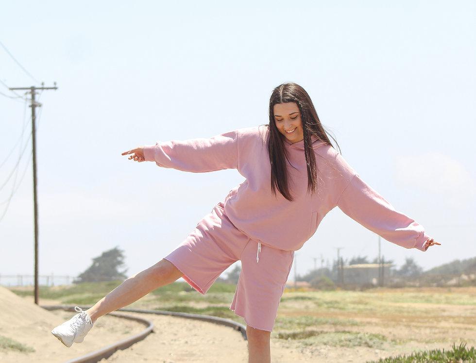 big pink hoodie