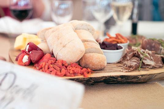 Classic meat board with ciabatta and delicious anti pasti