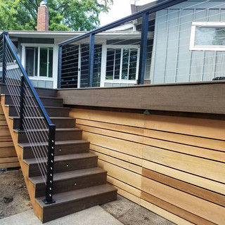 trex decking, railing, pressure treated cedar siding