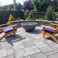 paver patio, lighting, fire bowl, seating