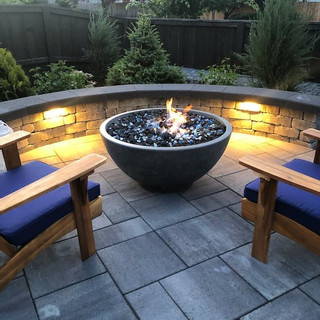 Paver patio, seating, fire bowl, lighting