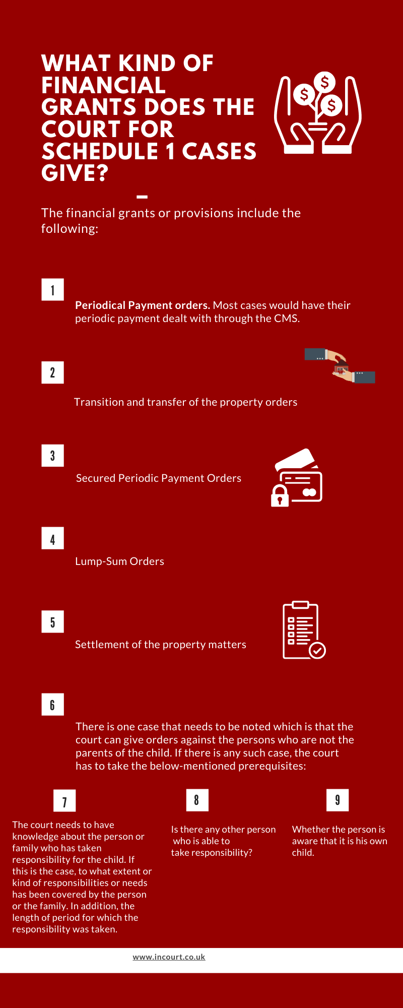 The Child Act 1989 provides for financial grants and provisions which Periodical Payment orders. Most cases would have their periodic payment dealt with through the CMS.  Transition and transfer of the property orders  Secured Periodic Payment Orders  Lump-Sum Orders and more.