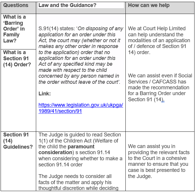 Barring Order, Restraining Order, Family Law, Court, Section 91.14 91 14 Court order Solicitor, How to get a barring order,