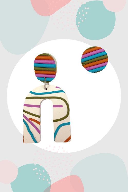 Pastel Tonları Çok Renkli Polimer Kil Tasarım Küpe