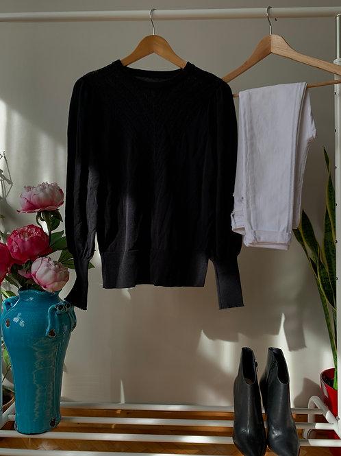 Siyah kayık yaka uzun kollu simli ince triko bluz