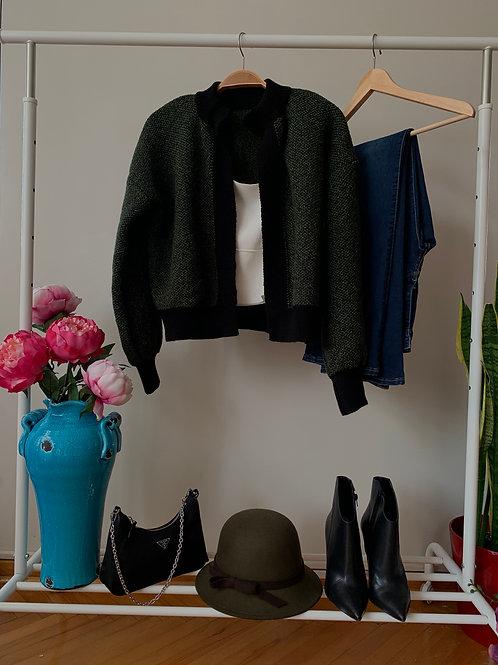 Yeşil siyah kalın şık triko hırka