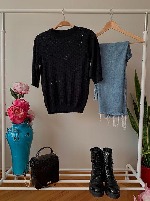Siyah kısa kollu ajurlu triko bluz