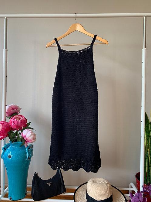 Siyah askılı ince triko yazlık elbise