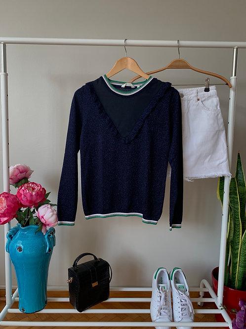Lacivert tül & fırfır detaylı uzun kollu simli triko bluz
