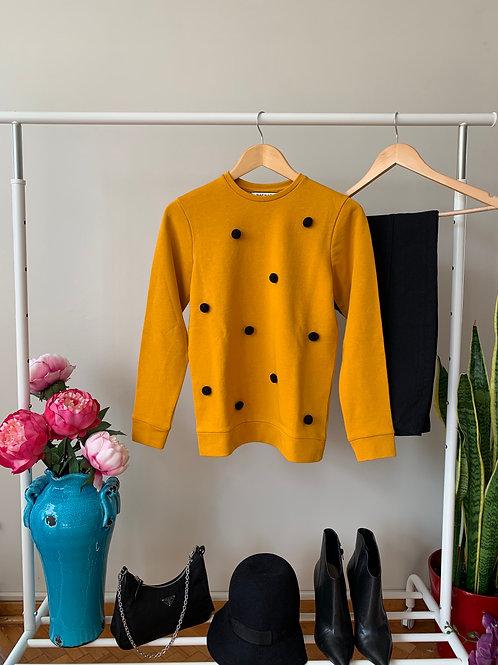 Hardal rengi siyah ponponlu sweatshirt