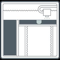 Zeichnung des Binder-Jetting-Verfahrens - Schritt 1