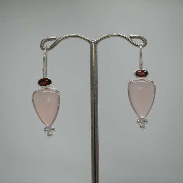 Boucles Quartz Rose-Grenat