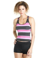 Rose Pink Stripe Swim Top