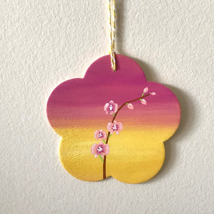 Pink Orchid - ornament on wood_1