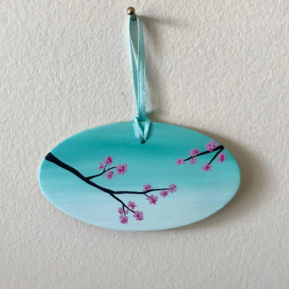 Cherry Blossoms - ornament on wood_1