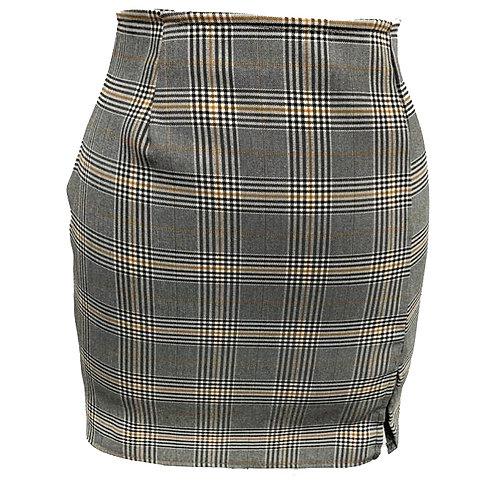 High Waist Mini Plaid Skirt