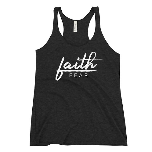 Women's Faith Over Fear - White - Tri-Blend Racerback Tank