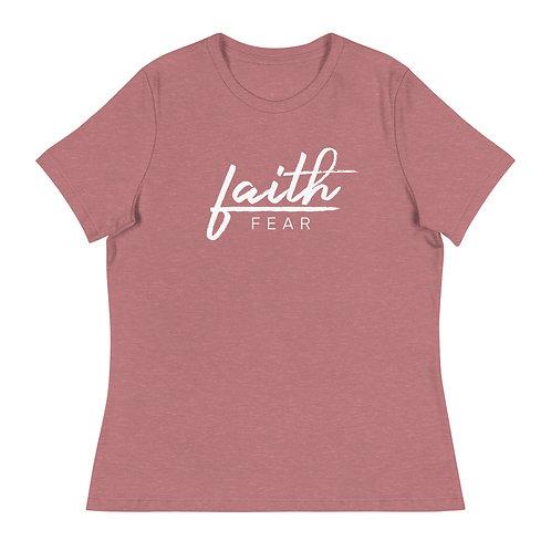 Women's Faith Over Fear - White - Relaxed Tee