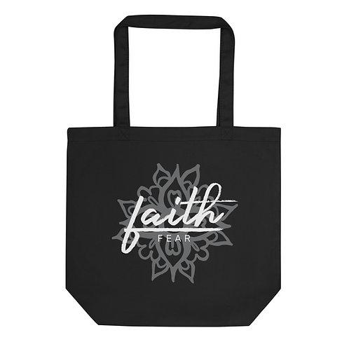 Faith Over Fear Mandala - Black Eco Tote Bag
