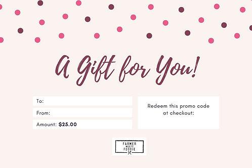Pink Polka Dot / $25 Gift Certificate