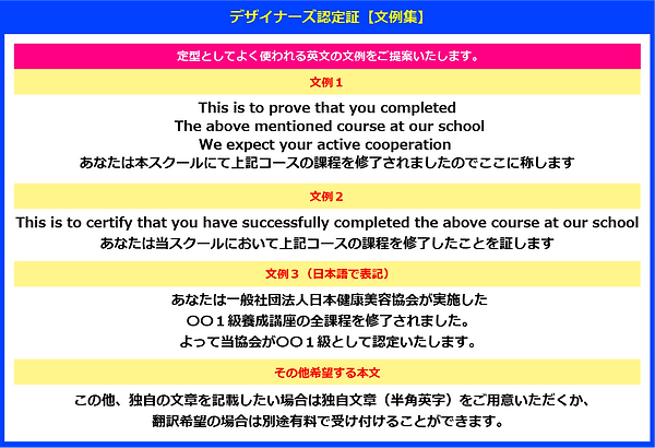 デザイナーズ認定証の作り方【文例集】