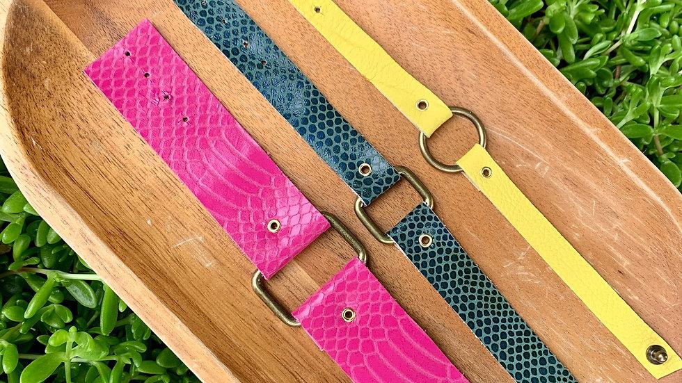 leather + square/circle bracelet