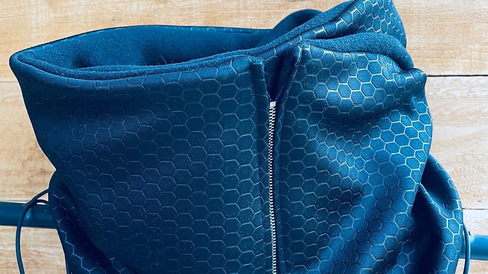 faux leather + lux fleece zipper scarf