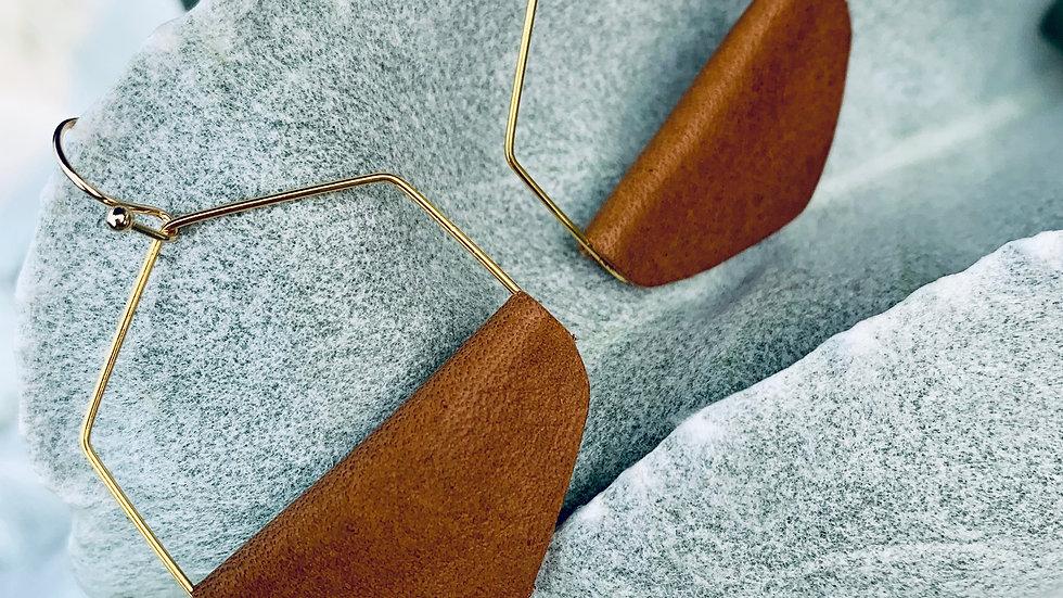 hexigon + leather wrap earrings