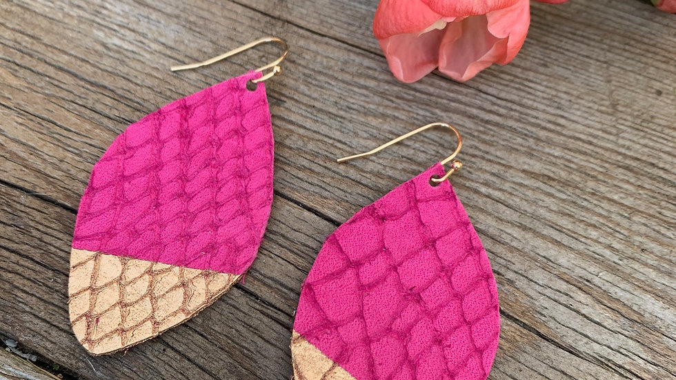 magenta leather + gold dipped