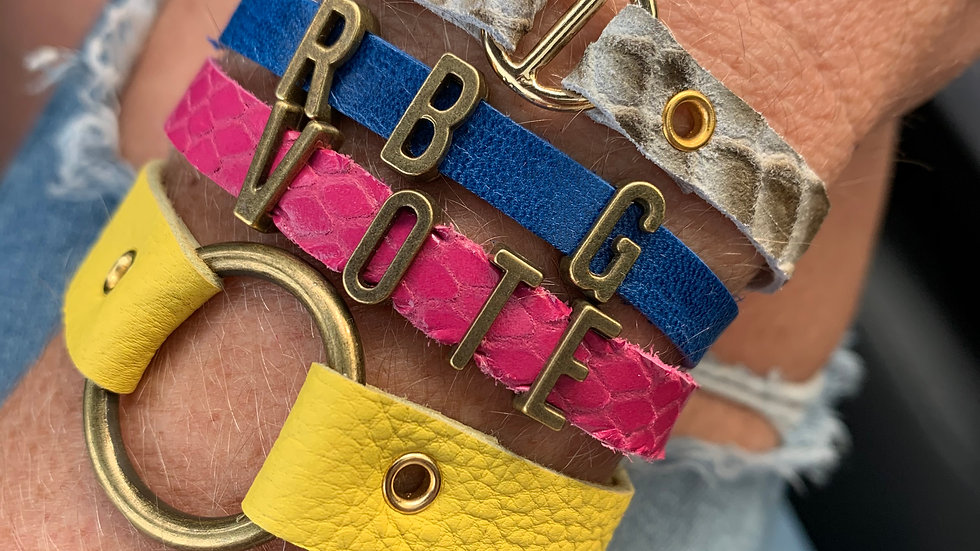 custom letters + leather bracelet