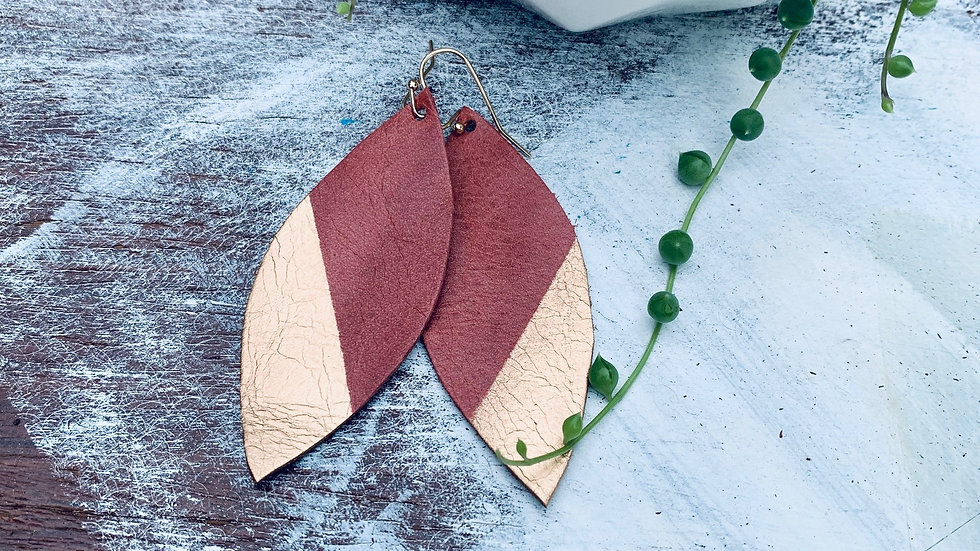 rose leather + gold dipped earrings