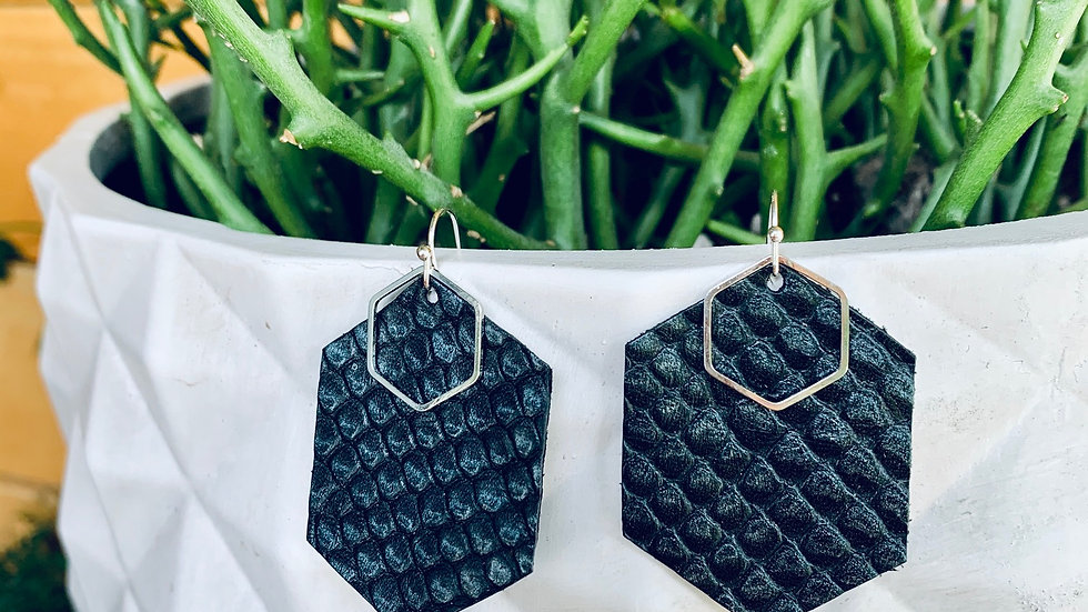 hexi on hexi + textured leather earrings