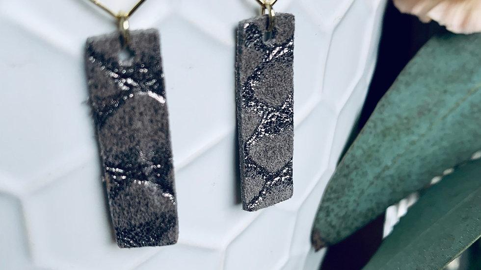 pewter textured + diamond drops